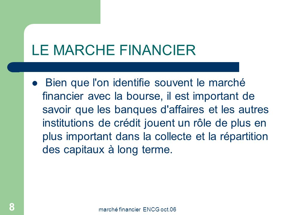 marché financier ENCG oct.06