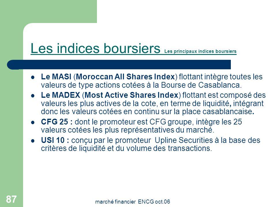 Les indices boursiers Les principaux indices boursiers