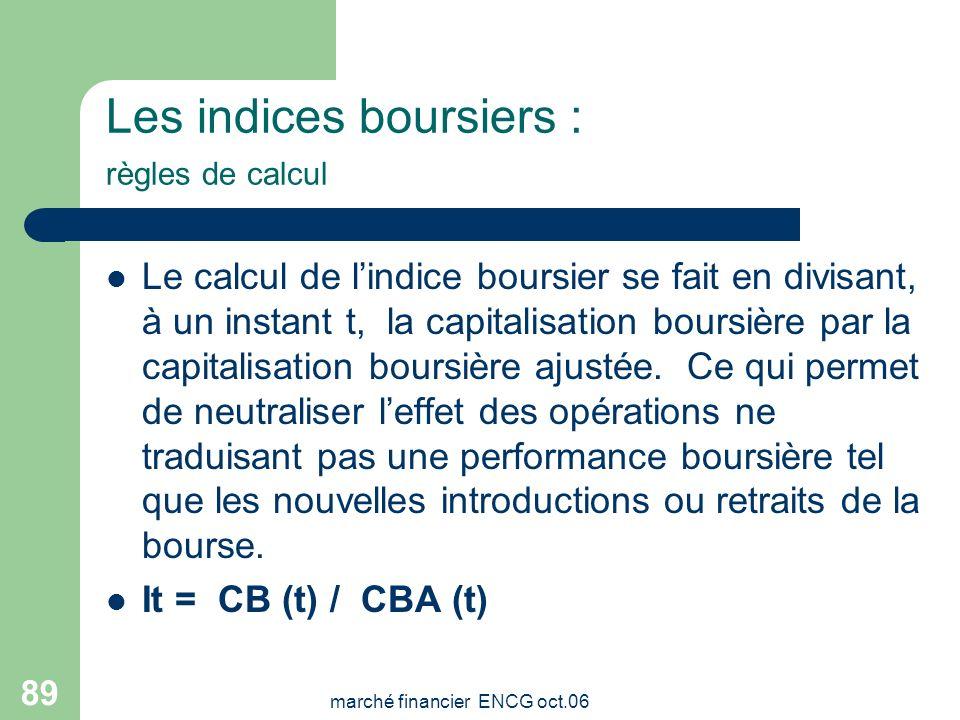 Les indices boursiers : règles de calcul