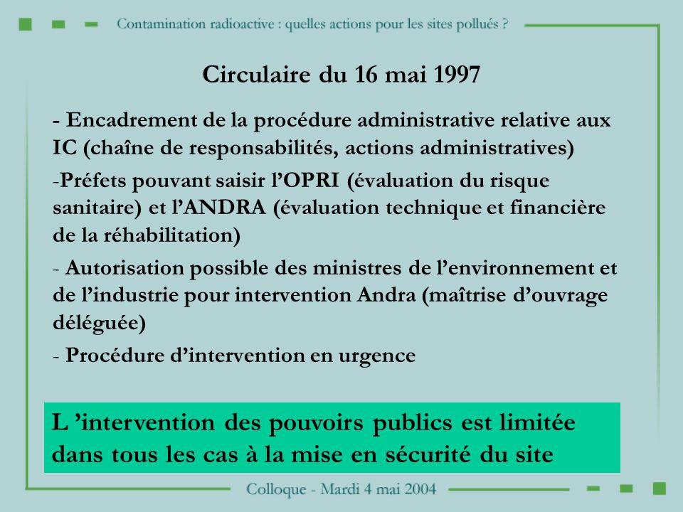 Circulaire du 16 mai 1997 - Encadrement de la procédure administrative relative aux IC (chaîne de responsabilités, actions administratives)