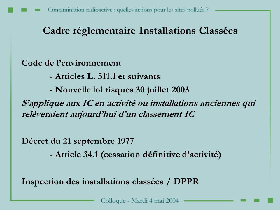 Cadre réglementaire Installations Classées