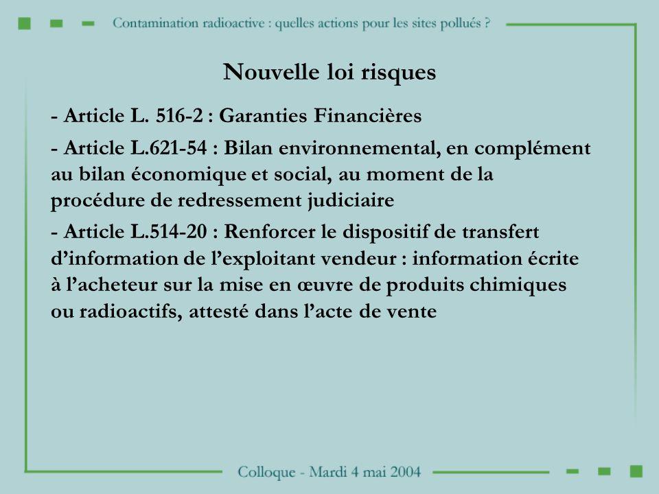 Nouvelle loi risques - Article L. 516-2 : Garanties Financières