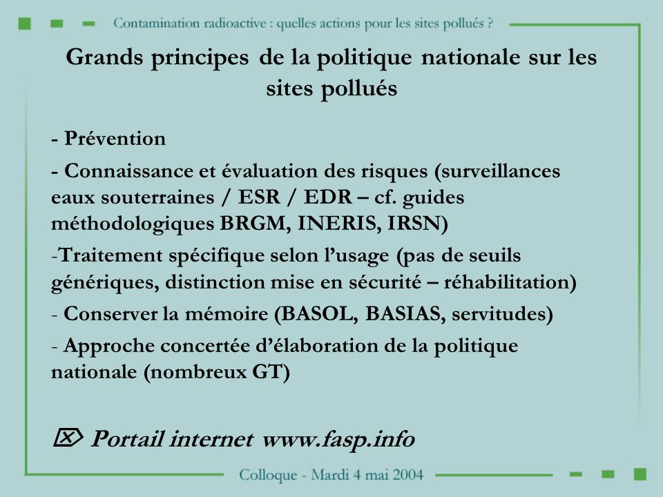 Grands principes de la politique nationale sur les sites pollués