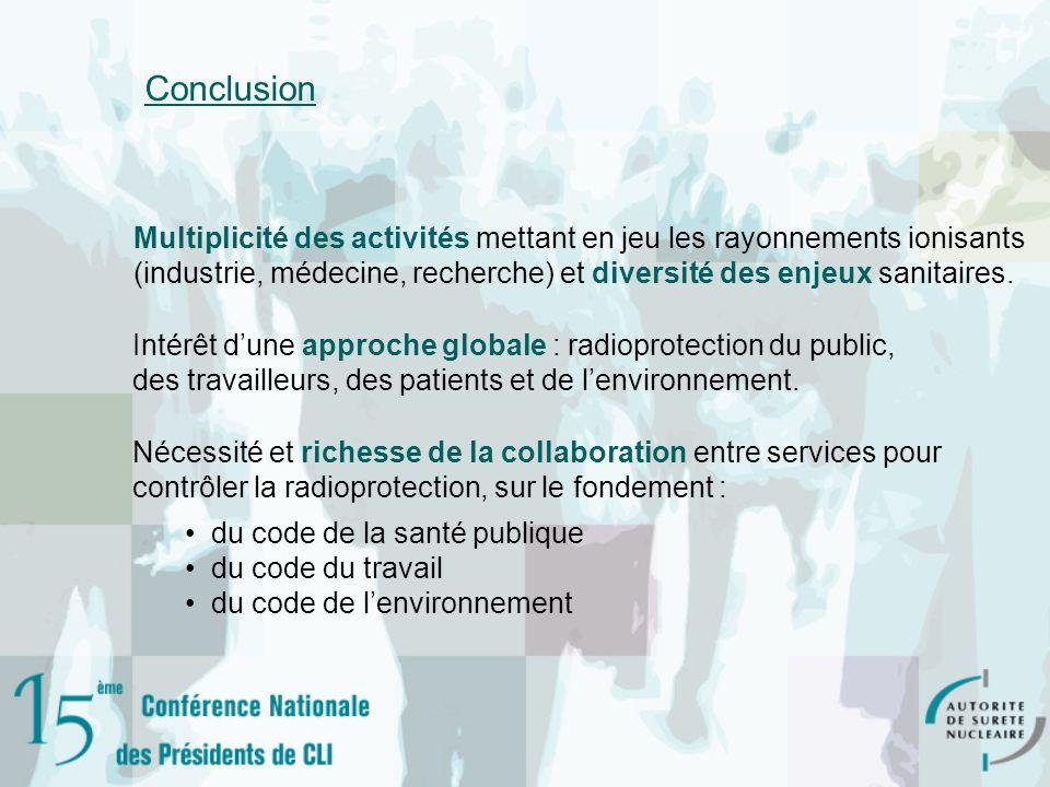 ConclusionMultiplicité des activités mettant en jeu les rayonnements ionisants. (industrie, médecine, recherche) et diversité des enjeux sanitaires.