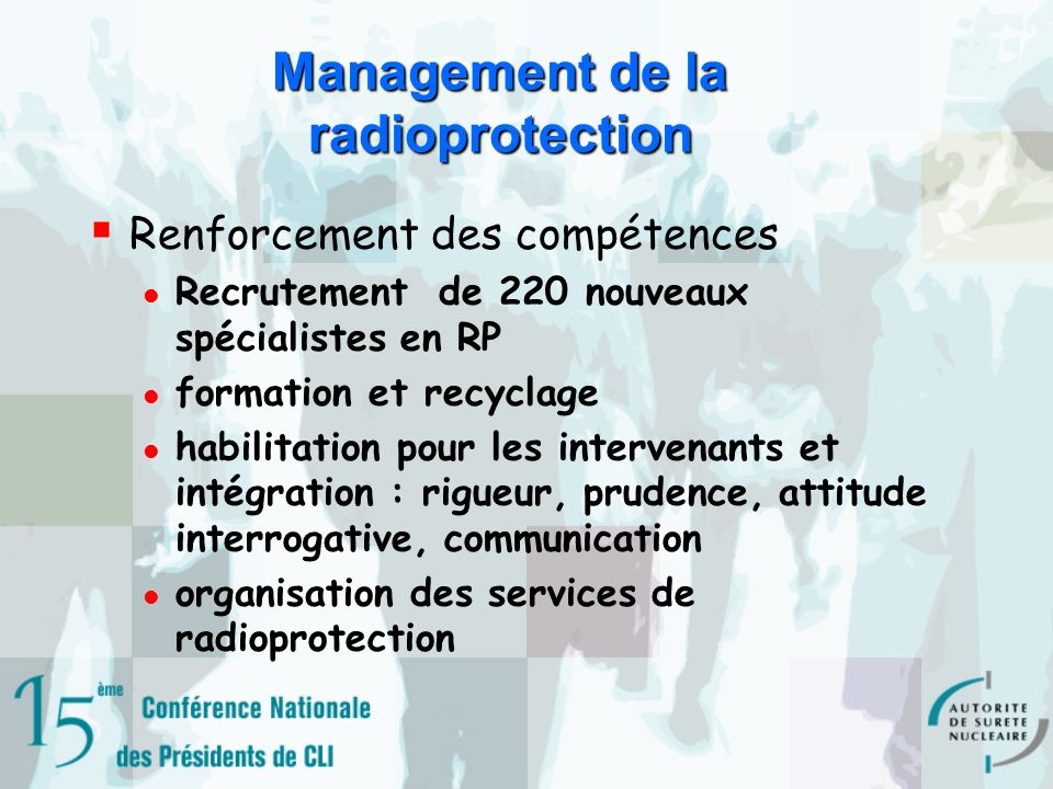 Management de la radioprotection