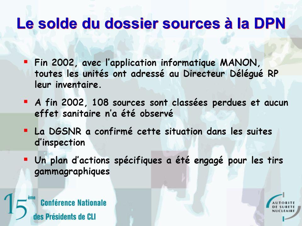 Le solde du dossier sources à la DPN