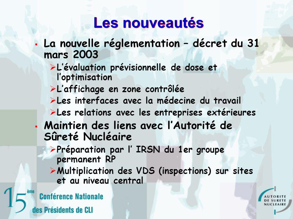 Les nouveautés La nouvelle réglementation – décret du 31 mars 2003