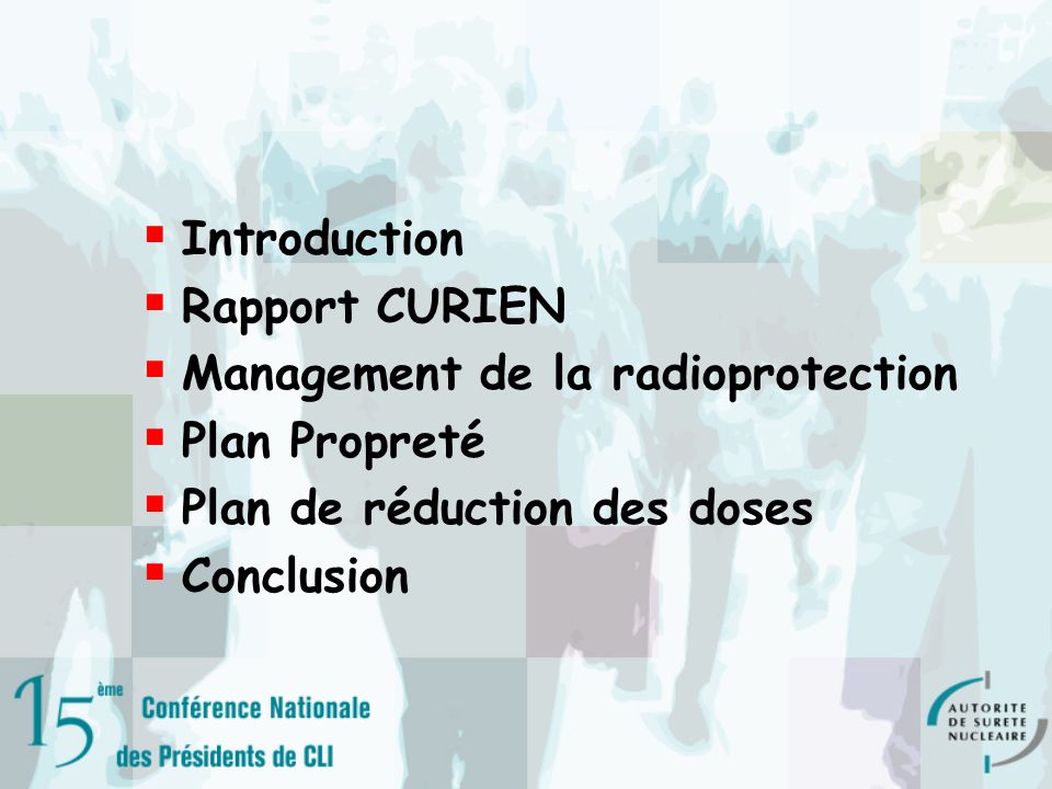 Management de la radioprotection Plan Propreté