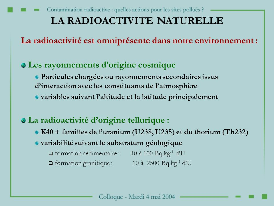 LA RADIOACTIVITE NATURELLE