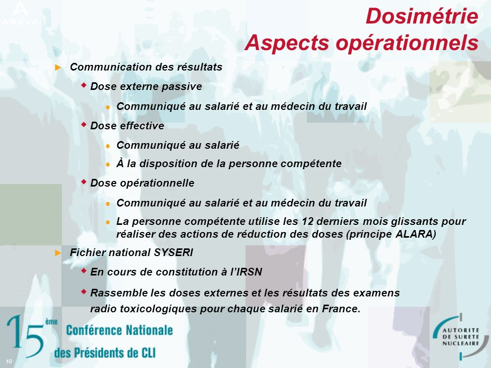 Dosimétrie Aspects opérationnels