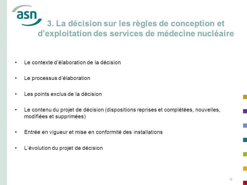 3. La décision sur les règles de conception et d'exploitation des services de médecine nucléaire