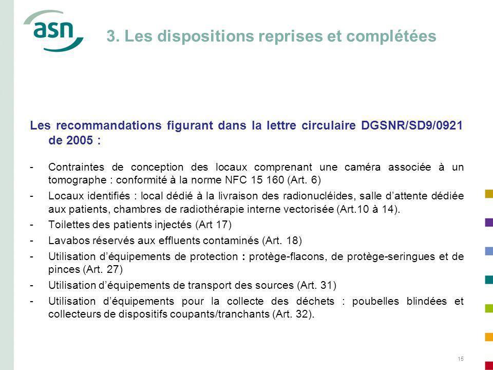 3. Les dispositions reprises et complétées