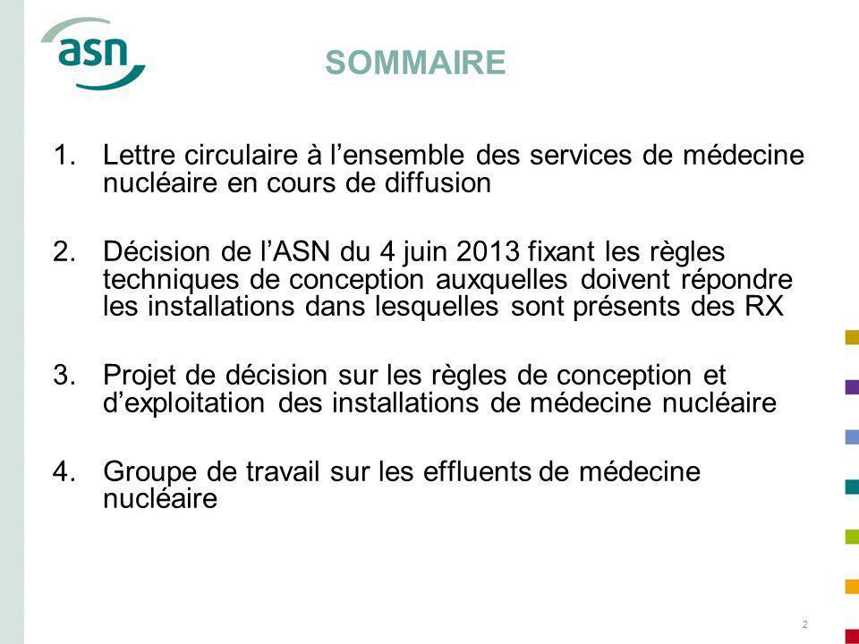 SOMMAIRE Lettre circulaire à l'ensemble des services de médecine nucléaire en cours de diffusion.