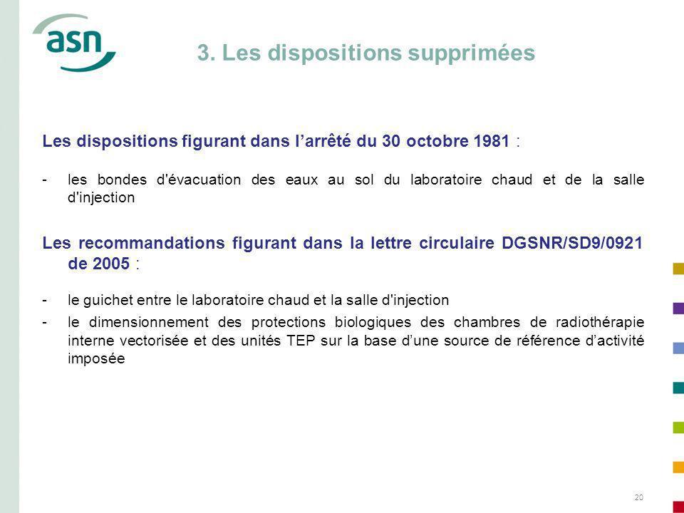 3. Les dispositions supprimées