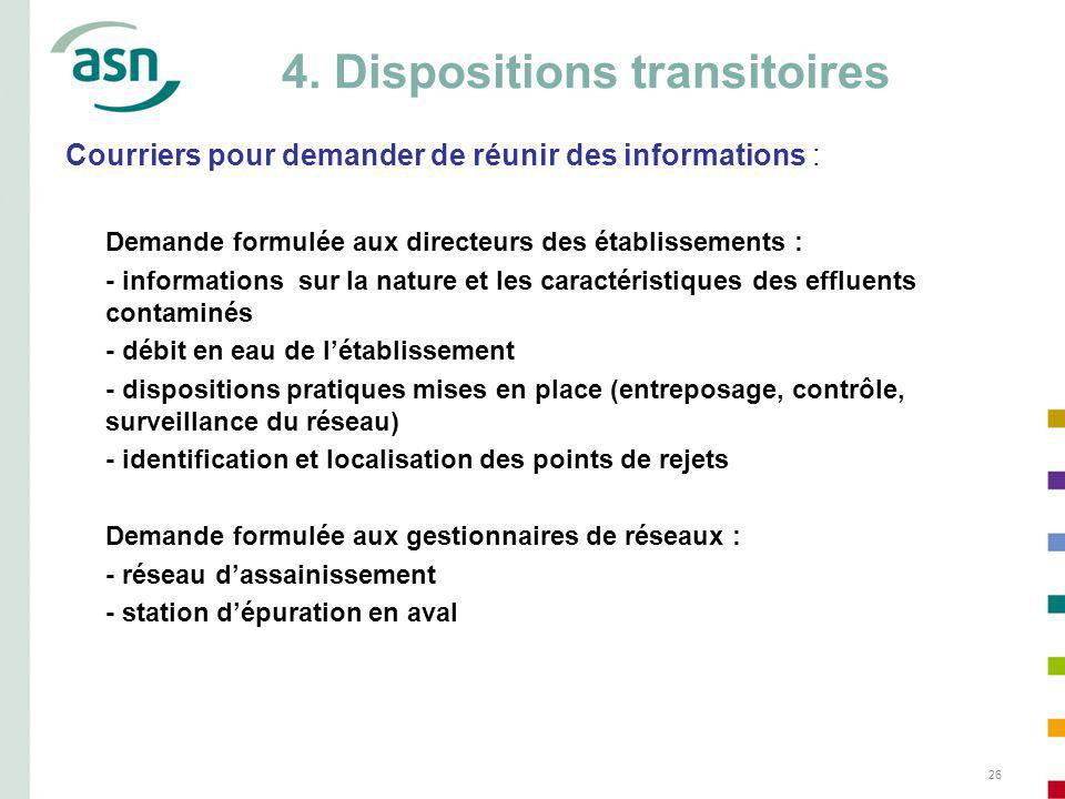 4. Dispositions transitoires