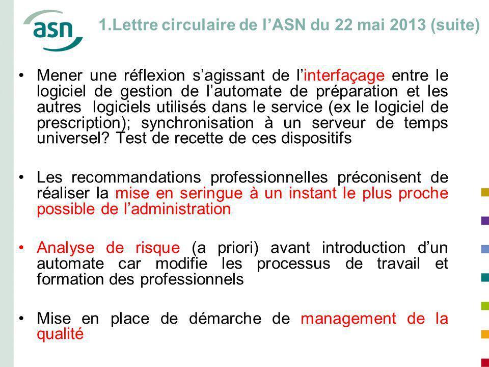 1.Lettre circulaire de l'ASN du 22 mai 2013 (suite)