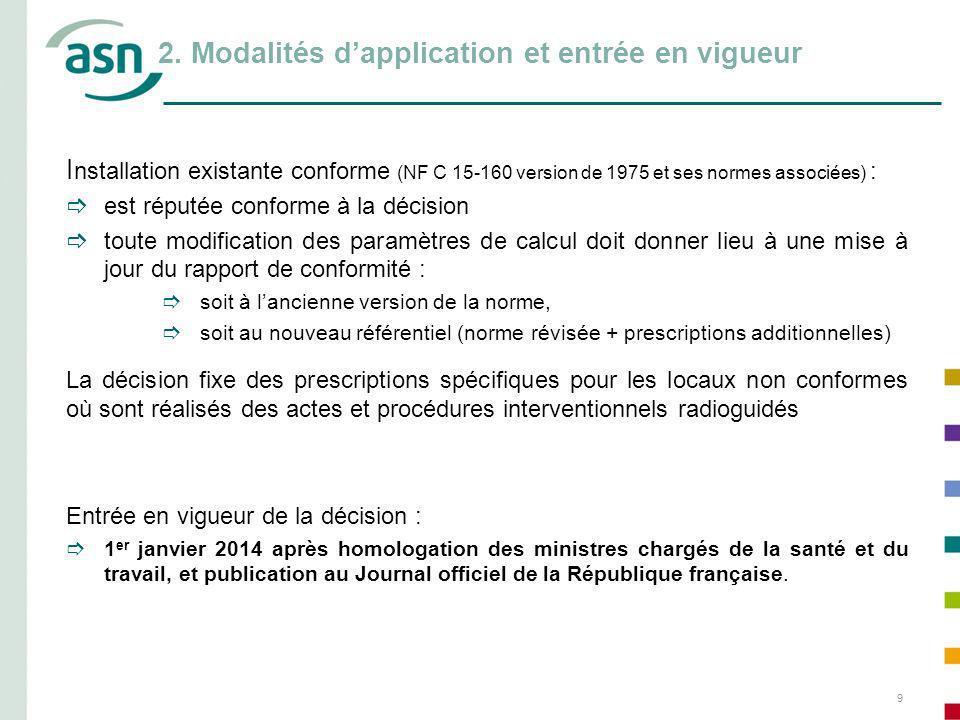 2. Modalités d'application et entrée en vigueur