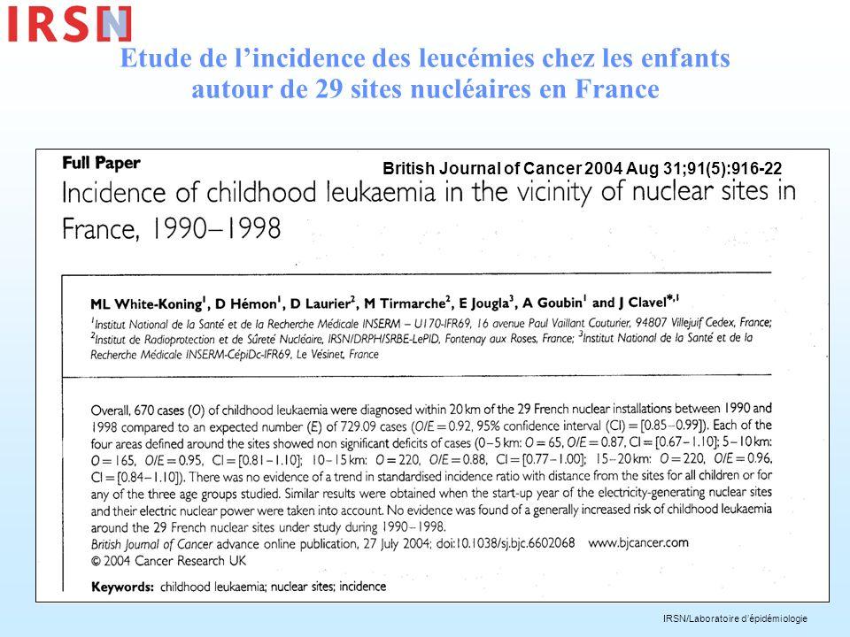 Etude de l'incidence des leucémies chez les enfants autour de 29 sites nucléaires en France
