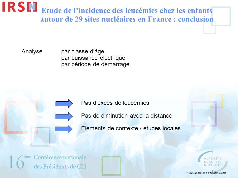 Etude de l'incidence des leucémies chez les enfants autour de 29 sites nucléaires en France : conclusion