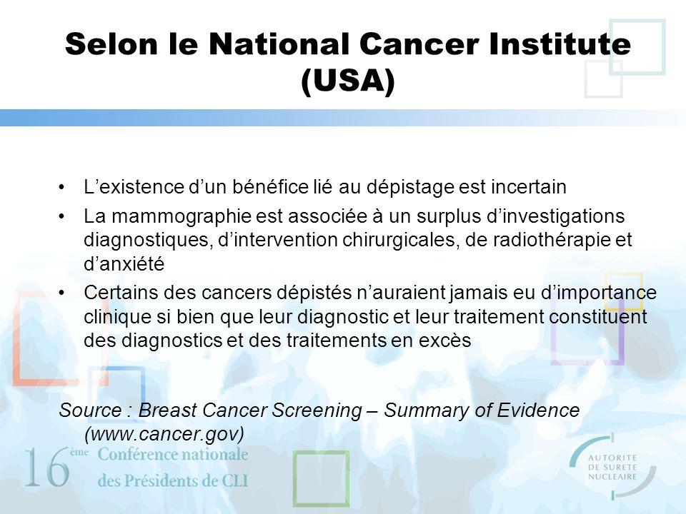 Selon le National Cancer Institute (USA)