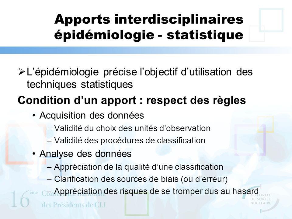 Apports interdisciplinaires épidémiologie - statistique