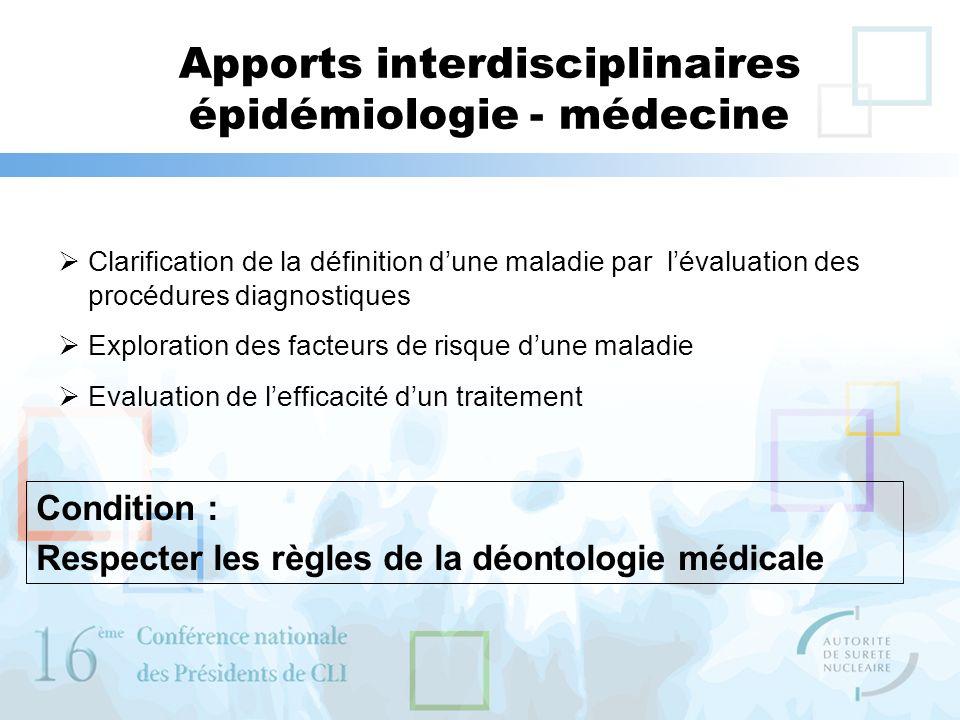 Apports interdisciplinaires épidémiologie - médecine