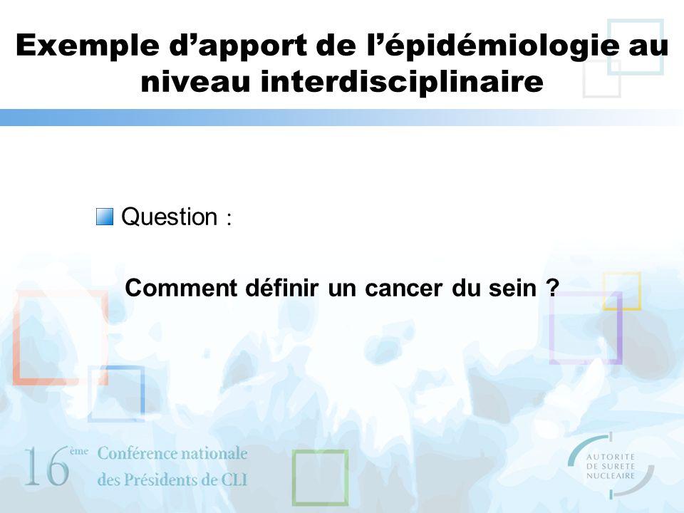 Exemple d'apport de l'épidémiologie au niveau interdisciplinaire