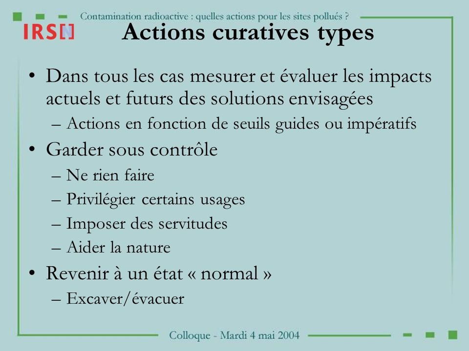 Actions curatives types