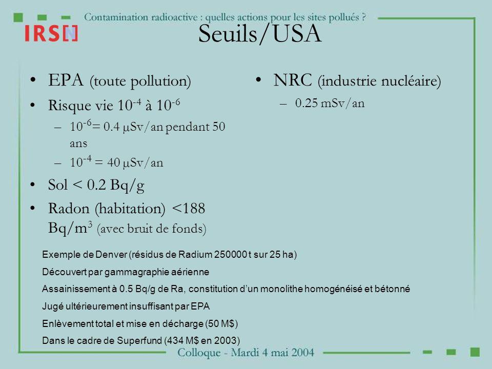 Seuils/USA EPA (toute pollution) NRC (industrie nucléaire)
