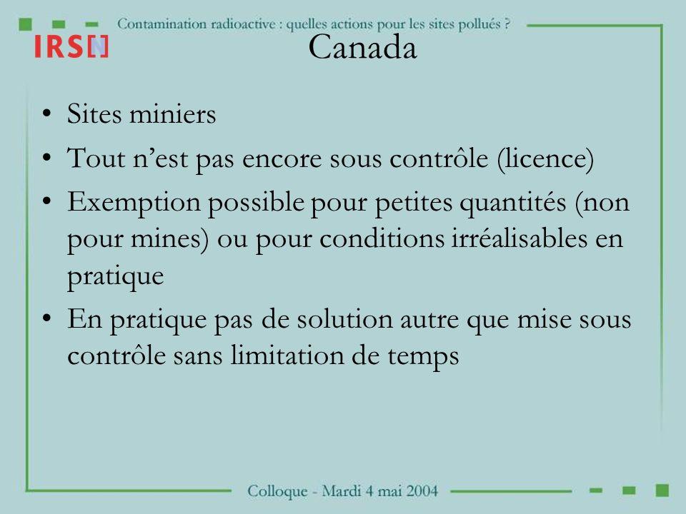 Canada Sites miniers Tout n'est pas encore sous contrôle (licence)