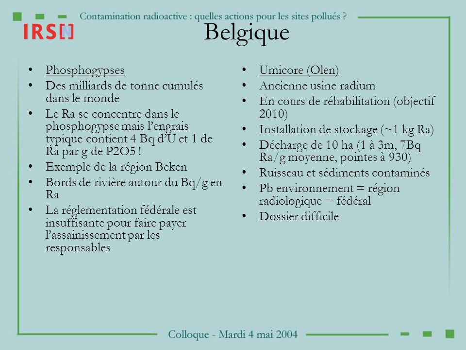 Belgique Phosphogypses Des milliards de tonne cumulés dans le monde