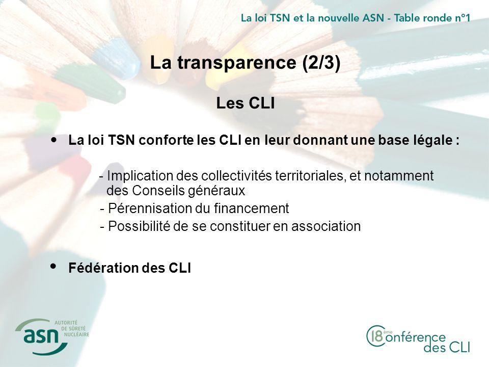 La transparence (2/3) Les CLI