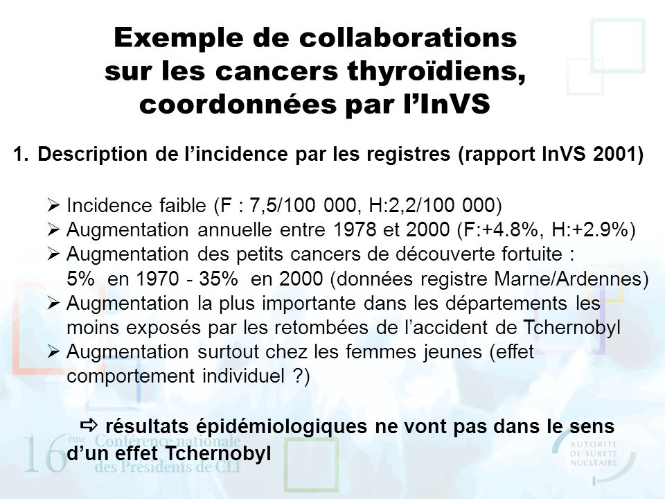 Exemple de collaborations sur les cancers thyroïdiens,