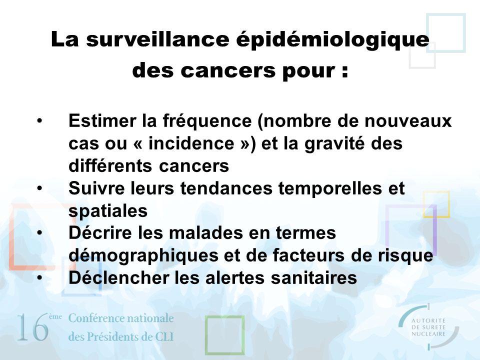 La surveillance épidémiologique des cancers pour :