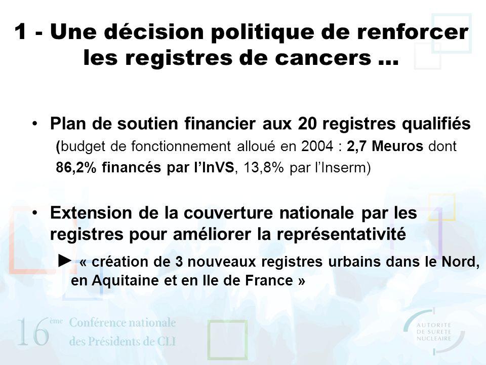 1 - Une décision politique de renforcer les registres de cancers …