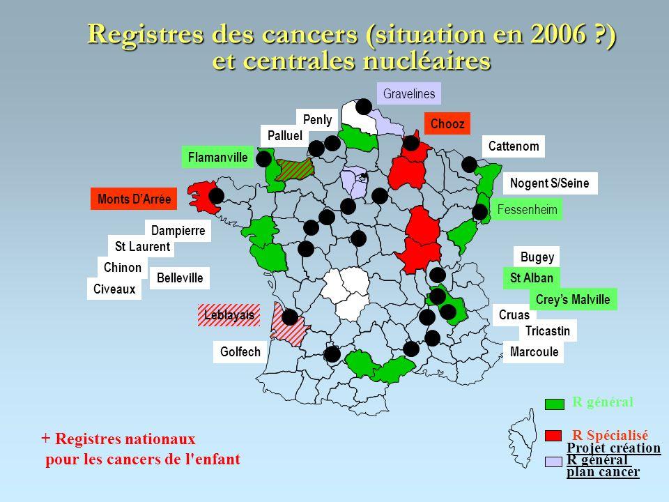 Registres des cancers (situation en 2006 ) et centrales nucléaires