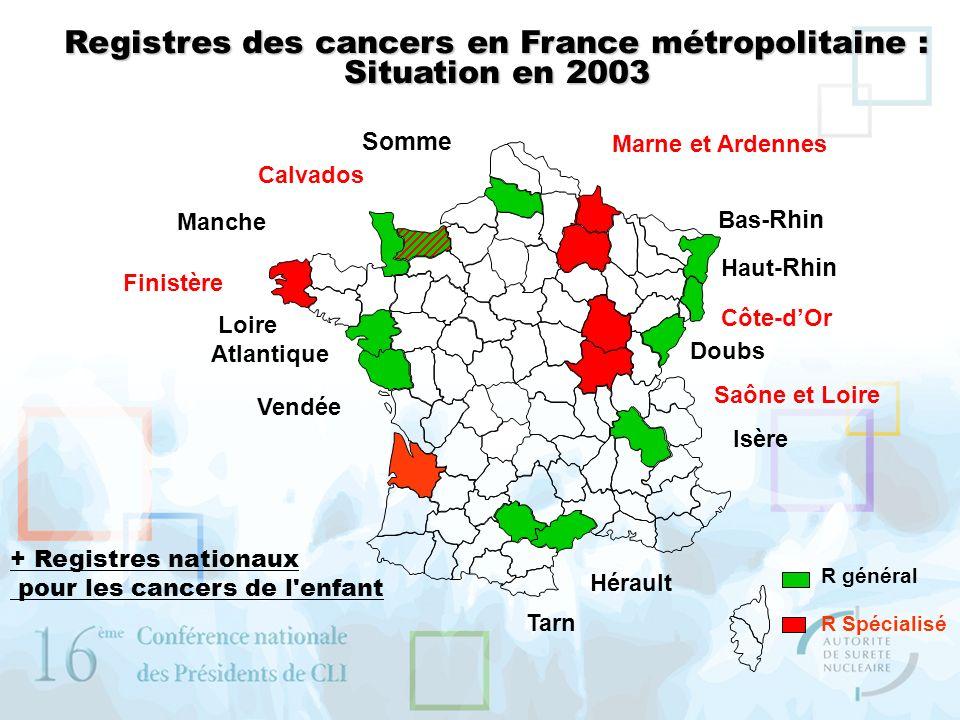 Registres des cancers en France métropolitaine :