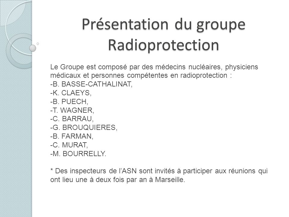Présentation du groupe Radioprotection