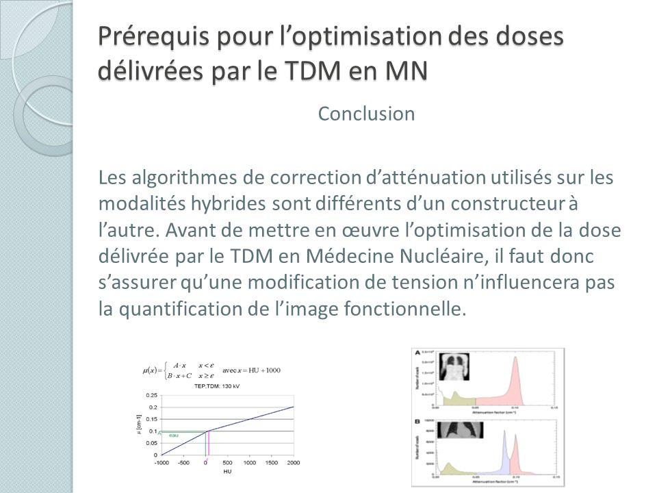 Prérequis pour l'optimisation des doses délivrées par le TDM en MN