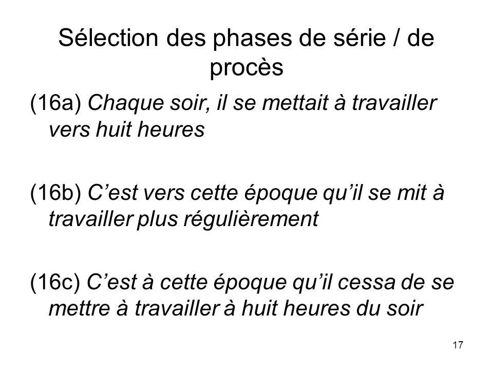 Sélection des phases de série / de procès