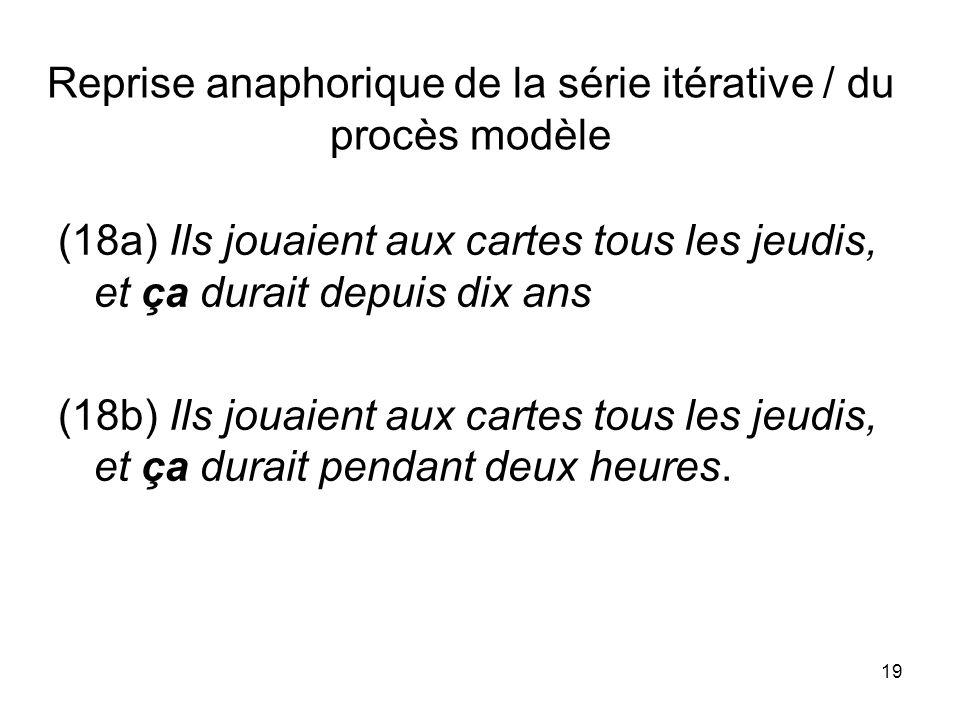 Reprise anaphorique de la série itérative / du procès modèle