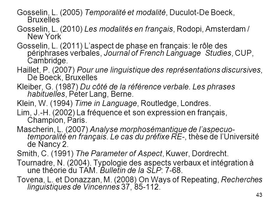 Gosselin, L. (2005) Temporalité et modalité, Duculot-De Boeck, Bruxelles