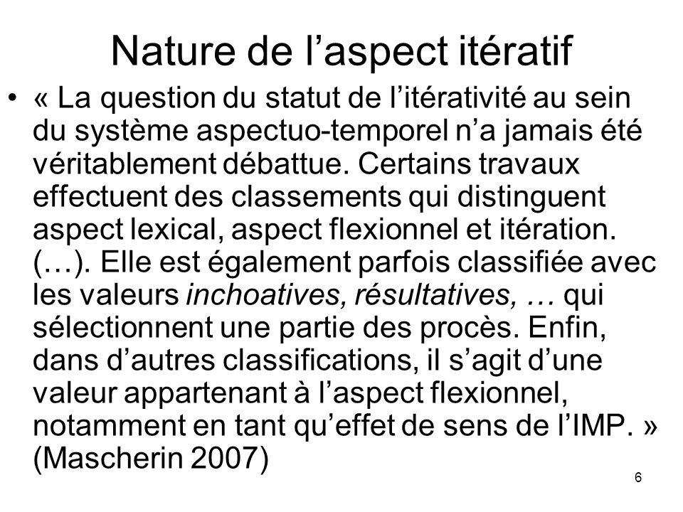Nature de l'aspect itératif
