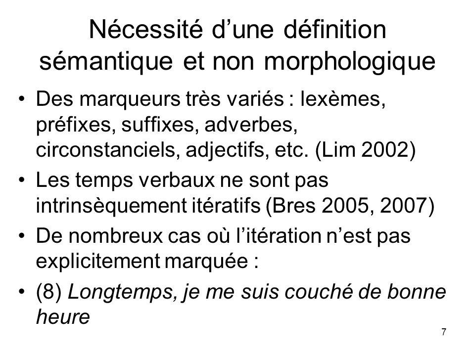 Nécessité d'une définition sémantique et non morphologique