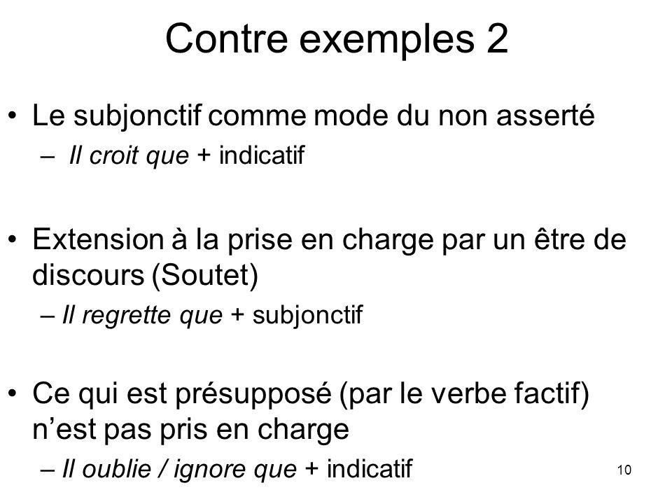 Contre exemples 2 Le subjonctif comme mode du non asserté