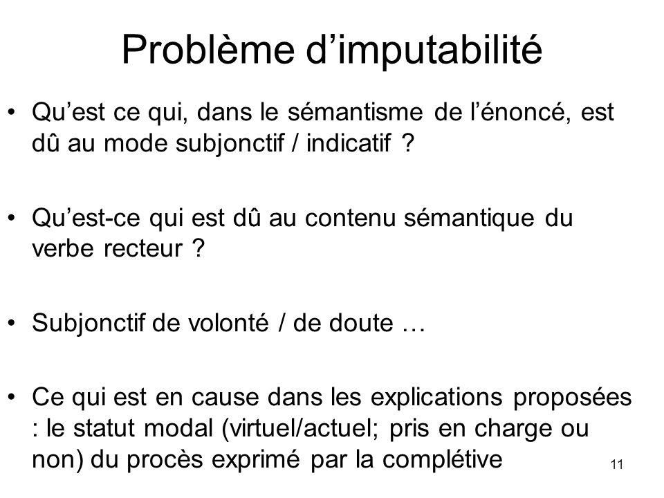 Problème d'imputabilité