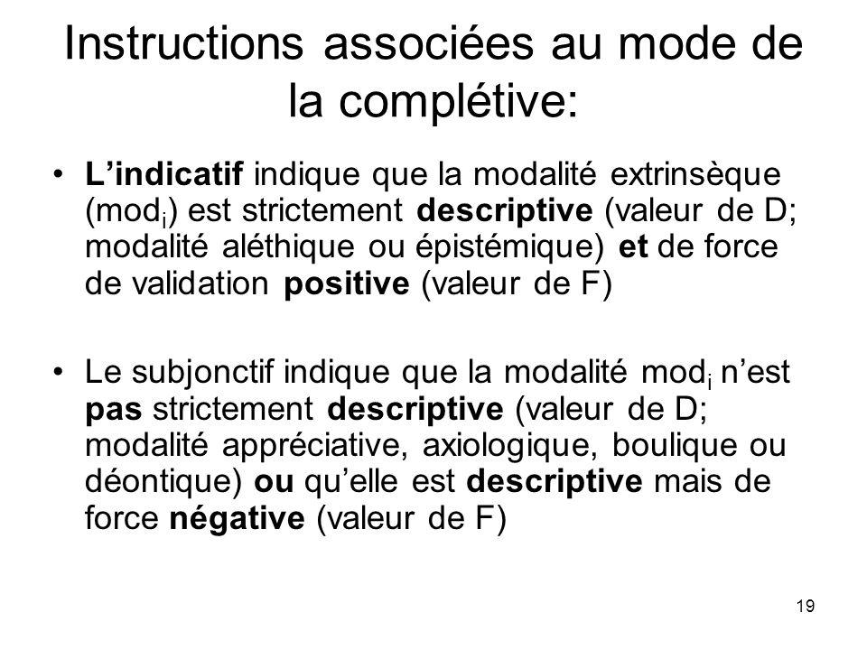 Instructions associées au mode de la complétive: