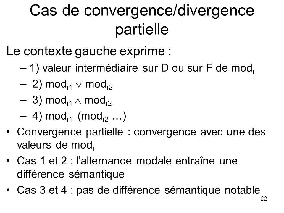 Cas de convergence/divergence partielle