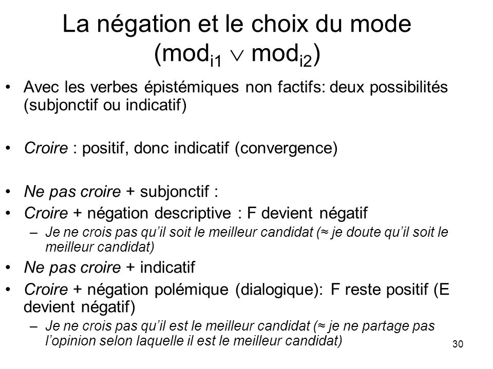 La négation et le choix du mode (modi1  modi2)