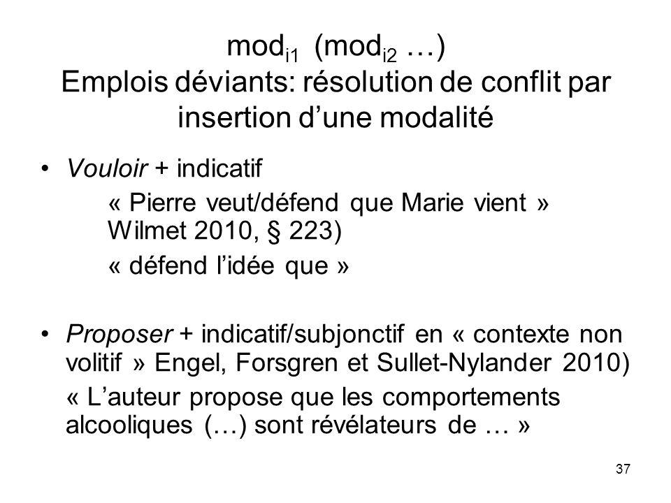 modi1 (modi2 …) Emplois déviants: résolution de conflit par insertion d'une modalité